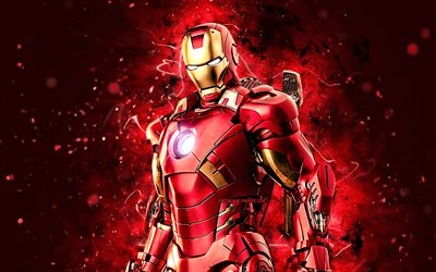 4k, IronMan, luova, supersankarit, Marvel Comics, IronMan 4K, punaiset neonvalot, Cartoon Iron Man