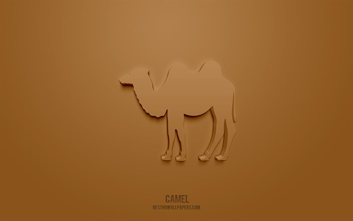 Camel 3d icon, brown background, 3d symbols, Camel, creative 3d art, 3d icons, Camel sign, Animals 3d icons