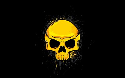 yellow skull, 4K, minimalism, creative, abstract skull, black backgrounds, skull