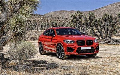 BMW X4, 2021, front view, exterior, sports coupe, new red X4, german cars, BMW