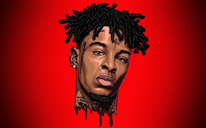21 Savage, minimalism, american rapper, music stars, Shayaa Bin Abraham-Joseph, american celebrity, red backgrounds, creative, 21 Savage minimalism