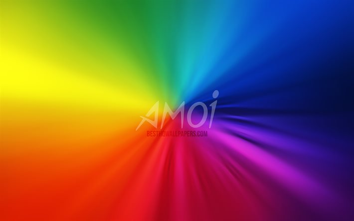 Amoi logo, 4k, vortex, rainbow backgrounds, creative, artwork, brands, Amoi