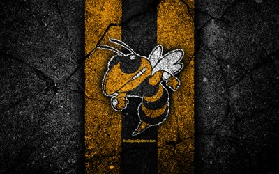 Georgia Tech Yellow Jackets, 4k, équipe de football américain, la NCAA, le jaune de la pierre noire, etats-unis, l'asphalte, la texture, le football américain, Georgia Tech Yellow Jackets logo