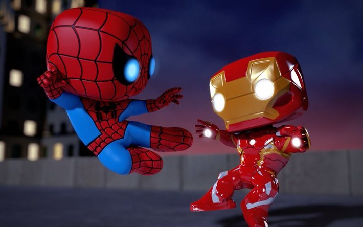 Iron Man vs Spiderman, 3d, caratteri, Spider-Man