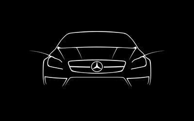 Mercedes-Benz CLS 63 AMG, creative, lines, black background