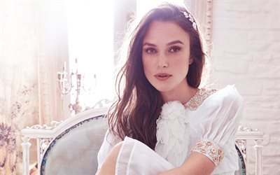 Keira Knightley, American actress, portrait, brunette, make-up, actress