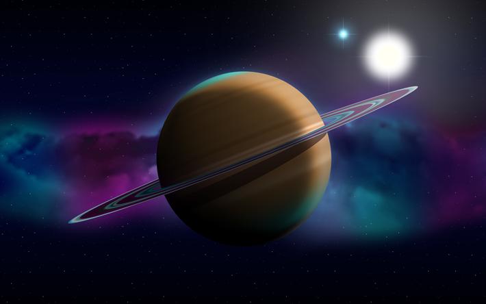 scarica sfondi saturno 4k sistema solare luminoso