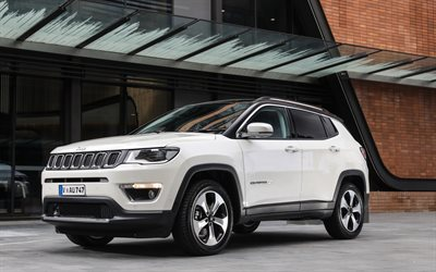 Jeep Compass, 2018, new SUV, white Compass 2018, American cars, Jeep
