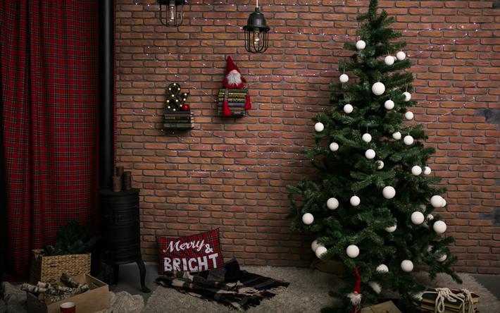 valkoinen joulu 2018 Lataa kuva Uusi Vuosi puu, sisustus, valkoinen Joulu pallot  valkoinen joulu 2018