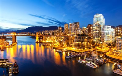 Vancouver, Canada, evening, bay, 4k, city lights, modern buildings, capital of Canada