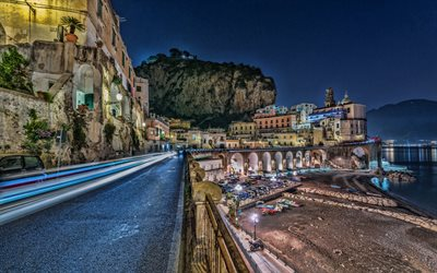 Amalfi, HDR, night, traffic lights, quay, sea, Italy, Europe