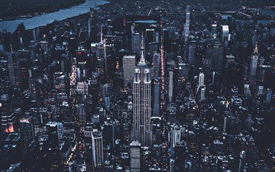 Manhattan, aerial view, New York, nightscapes, cityscapes, modern buildings, NY, USA, America
