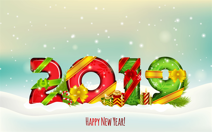 Download Wallpapers 4k Happy New Year 2019 3d Digits Creative