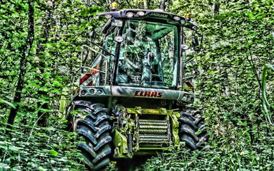 CLAAS Lexion 750, HDR, combine in forest, abandoned combine, CLAAS, combine-harvester, Lexion 750, agricultural machinery