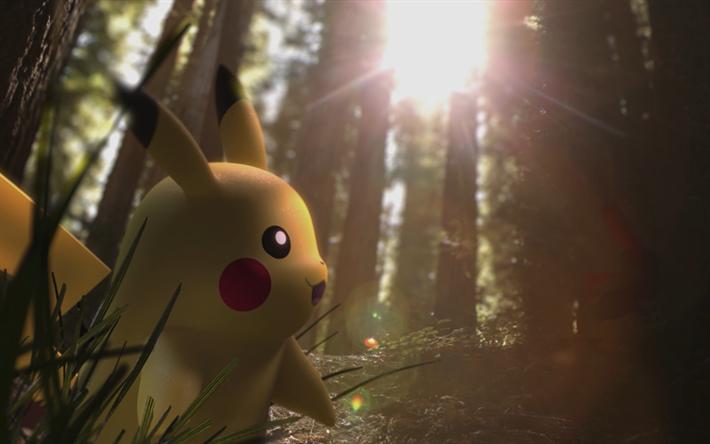 Pikachu in forest, 4k, Pokemon, 3D art