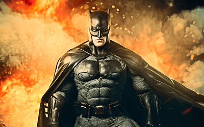 4k, Batman in fire, artwork, batman 3d, superheroes, Cosplay, creative, Bat-man