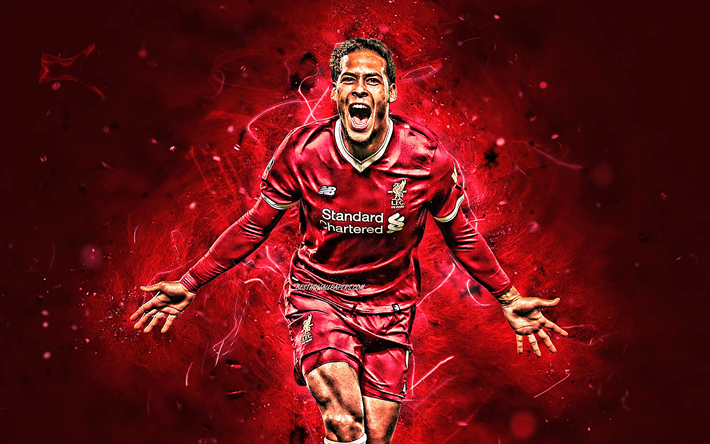 Download Wallpapers Virgil Van Dijk, Goal, Liverpool FC, LFC, Dutch Footballers, Premier League