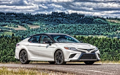Toyota Camry, HDR, 2019 coches, nuevo Camry, los coches japoneses, 2019 Toyota Camry, blanco Camry, Toyota