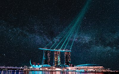 Marina Bay Sands, nightscapes, starry sky, luxury hotel, Singapore, Marina Bay at night