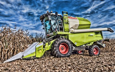 CLAAS Avero 160, 4k, HDR, corn harvest, combine, CLAAS, combine-harvester, Avero 160, agricultural machinery