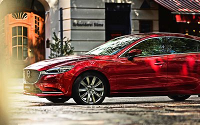 Mazda 6, 2018, 4k, red sedan, business class, exterior, new red Mazda 6, Japanese luxury cars, Mazda
