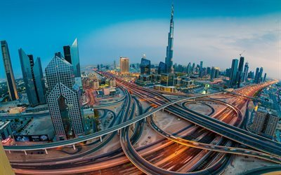 Dubai, panorama, UAE, modern architecture, skyscrapers, United Arab Emirates