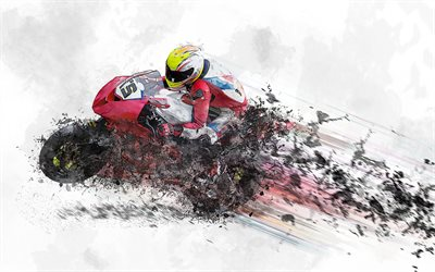 MotoGP, 4k, abstract art, rider, motorcycle racing