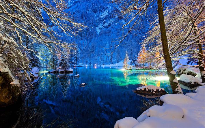 Scarica Sfondi Svizzera 4k Inverno Lago Notte Europa Per