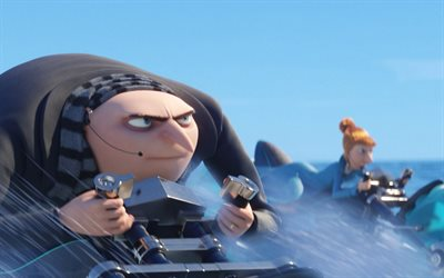 Felonius Gru, Lucy Wilde, 3d-animation, Despicable Me 3, minions