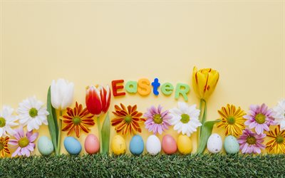 Easter, red tulips, Easter decoration, spring flowers, Easter eggs