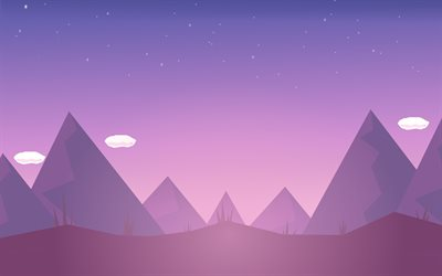 mountains, minimal, creative, purple landscape