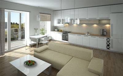 kitchen living room, combined facilities, modern stylish design, bright interiors, minimal, modern interior design