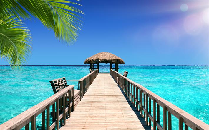 Bora Bora Bungalows 4k Hd Desktop Wallpaper For Wide: Scarica Sfondi Bora Bora, Mare, Bungalow, Laguna Azzurra