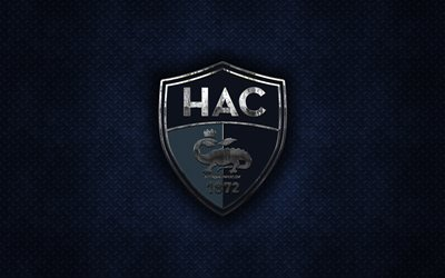 Le Havre AC, French football club, blue metal texture, metal logo, emblem, Le Havre, France, Ligue 2, creative art, football