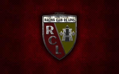 RC Lens, French football club, red metal texture, metal logo, emblem, Lens, France, Ligue 2, creative art, football