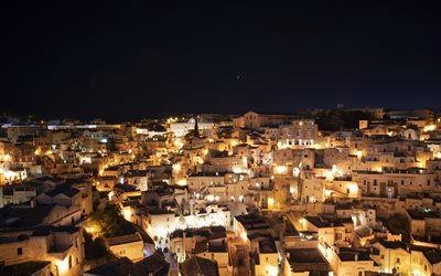 Matera, Basilicata, Italy, night, cityscape, night sky, beautiful italian city