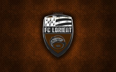 FC Lorient, French football club, orange metal texture, metal logo, emblem, Lorient, France, Ligue 2, creative art, football