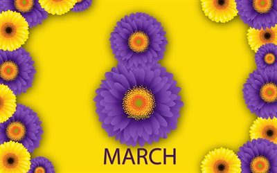 Happy Womens Day, March 8, creative art, purple flowers, 8 from flowers, international women's day, yellow background, March 8 postcard, spring, spring flowers, purple chrysanthemums