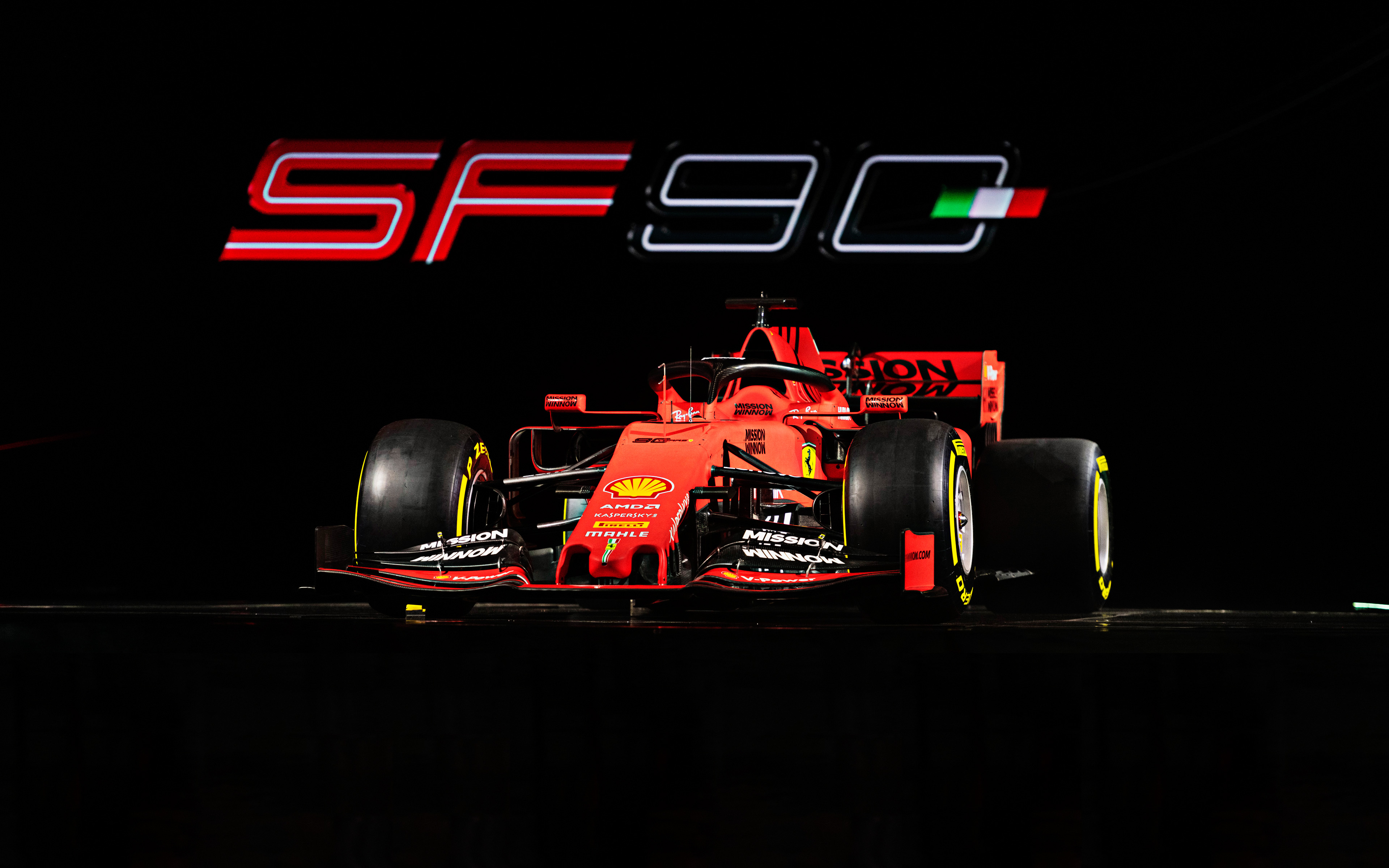 Desktop Wallpaper Ferrari Sf71h Formula One F1 Sports: Download Wallpapers Ferrari SF90, 4k, 2019 F1 Cars