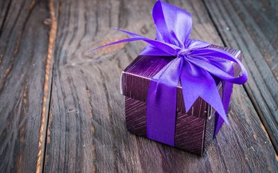 purple gift box, purple silk bow, wooden background, box, gifts