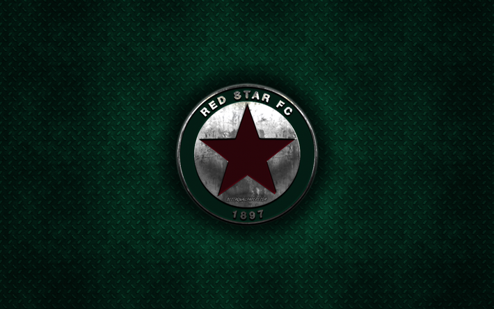 Red Star FC, French football club, green metal texture, metal logo, emblem, Paris, France, Ligue 2, creative art, football