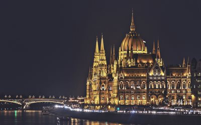 Parliament of Budapest, nightscapes, Budapest landmarks, Hungarian Parliament Building, cityscapes, Danube River, Budapest, Hungary