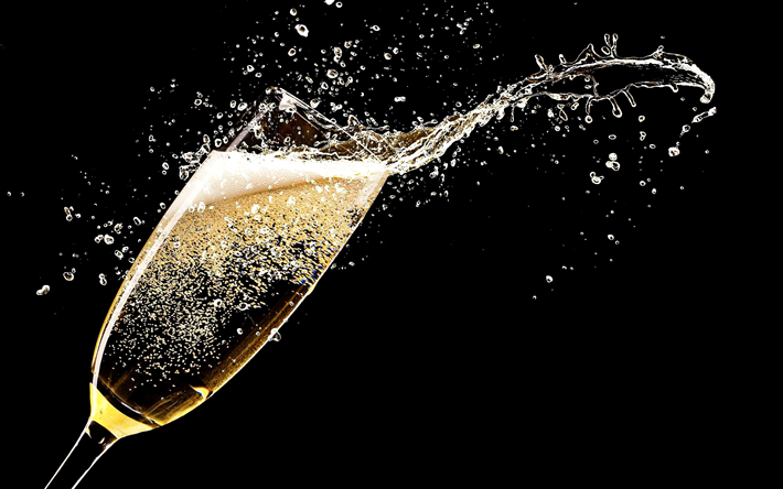 champagne, splashes, glass of champagne, black background, drinks, glass