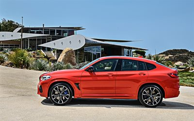 2020, BMW X4 M Competition, side view, new orange X4, exterior, german sports crossovers, X4M, BMW