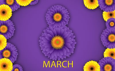 March 8, purple chrysanthemums, purple background, Happy Womens Day, March 8 concepts, spring, flowers, greeting card