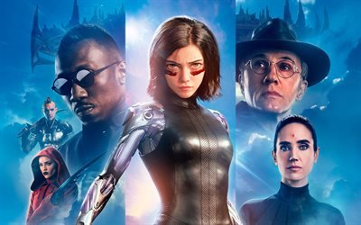 Alita, Chiren, Vector, Dr Dyson Ido, 4k, poster, 2019 movie, Alita Battle Angel, Rosa Salazar, Christoph Waltz, Mahershala Ali, Jennifer Connelly
