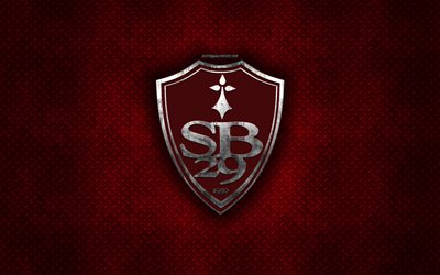 Stade Brestois 29, Brest, French football club, red metal texture, metal logo, emblem, France, Ligue 2, creative art, football