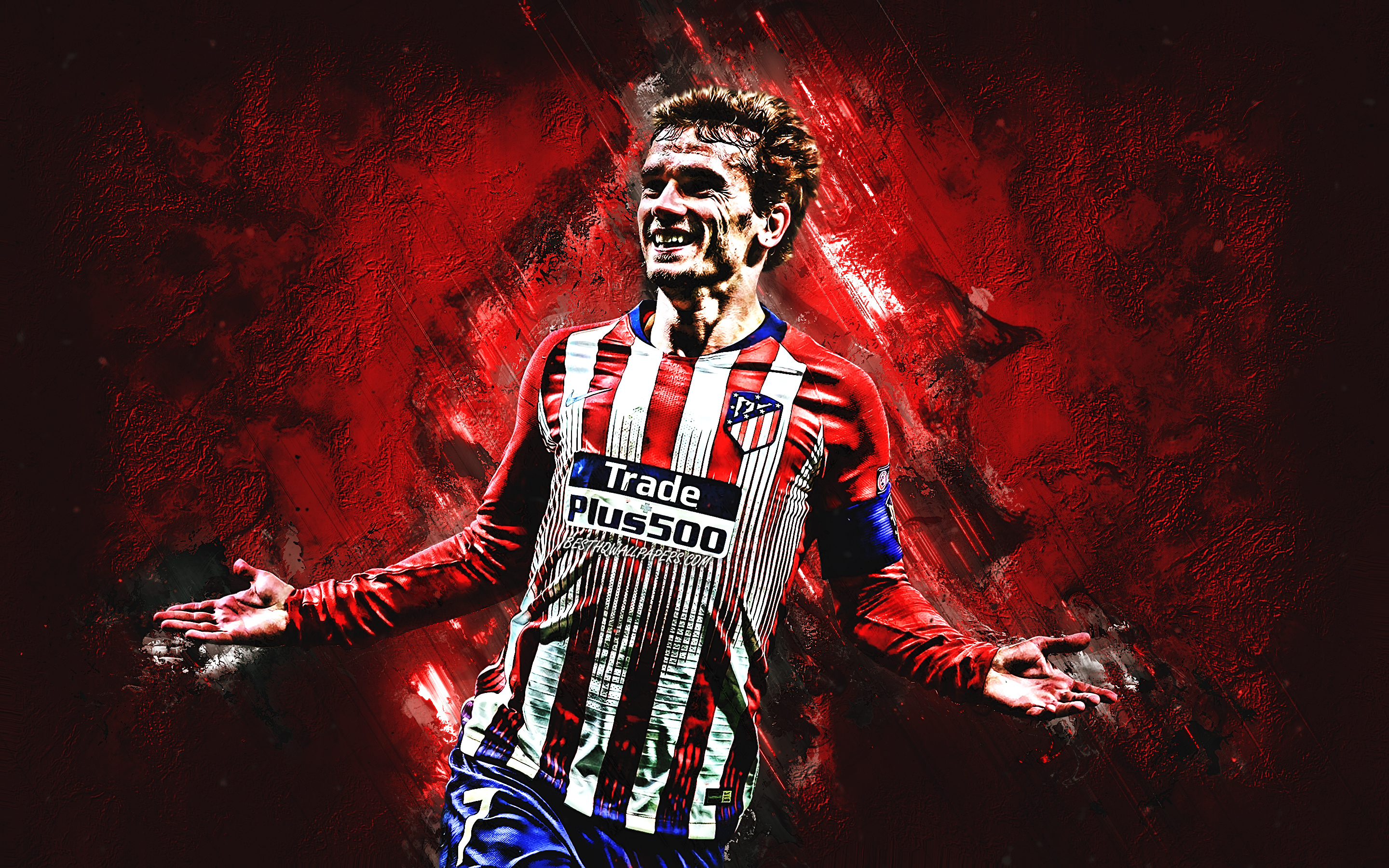 Antoine Griezmann, Atletico Madrid, striker, joy, red stone, famous footballers, football, french footballers, grunge, La Liga, Spain, Griezmann