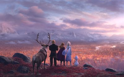 Frozen 2, 2019, 4k, promo, poster, all characters, Anna, Elsa, Deer, mountain landscape