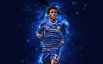 4k, Willian, Chelsea FC, brazilian footballers, soccer, England, abstract art, Willian Borges da Silva, Premier League, neon lights